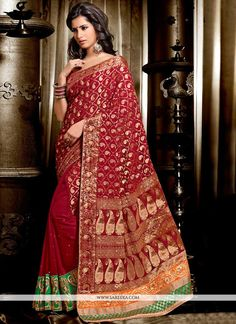Mesmeric Maroon Jacquard And Georgette Saree