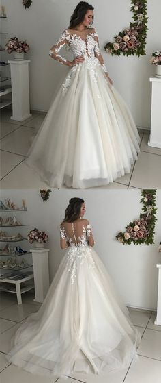Vintage Illusion Scoop Neckline Long Sleeves Tulle Ball Gowns Wedding Dresses Lace Appliques