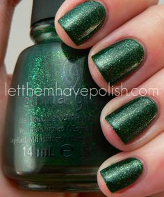 China Glaze Glittering Garland. Used for half a holiday manicure (it just looks swatched), $3.50.