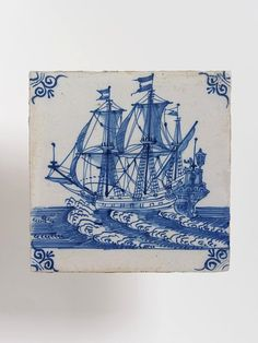 17th cen Tile, tin-glazed earthenware, one of a set of tiles showing ships (C.566:1 to 16-1923), used as a panel in a fireplace or on a wall. Painted in blue on a white tile. V C.566:5-1923