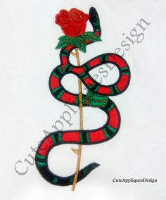 Snake and Rose Digital Embroidery Design No 1158 by CuteAppliquesDesign on Etsy