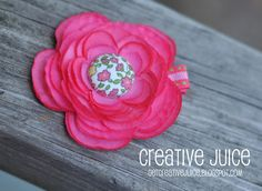 flower hairbows with fabric covered button