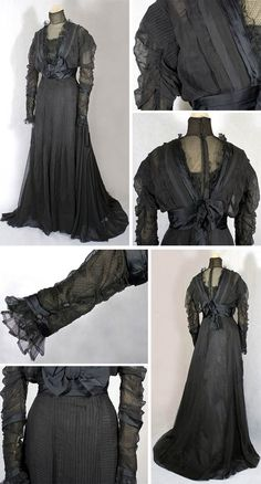 Dress, Jeanne Hallée, ca. 1900. One piece, black chiffon. Boned bodice and skirt lined with black satin. Bodice has additional layer of ruched black taffeta in front and black satin bands and bows. Dotted tulle at neckline and lower sleeves. Closes in back with hooks. Vintage Textile via web.archive.org