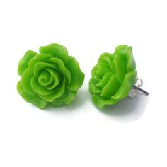 Lime Green Large Rose Earrings Pinup, Rockabilly, Kitsch ($7) ❤ liked on Polyvore featuring jewelry, earrings, rose jewelry, rockabilly earrings, rose earrings, rockabilly jewelry and lime green earrings