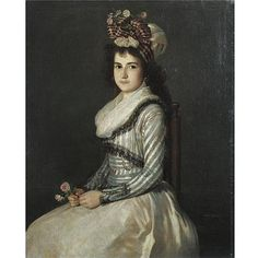 Agustin Esteve y Marques Valencia 1753 - circa 1820 Madrid , Portrait of a Young Woman Holding Two Roses