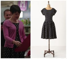 "Anthropologie Dropped Dots Dress as seen on Mary Margaret in episode 1x19 ""The Return"" (no longer available). Note: This item is available in various sizes on ebay"
