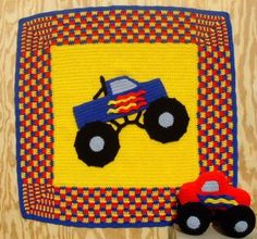 Crochet Pattern: Monster Truck Afghan and Toy. (Etsy)