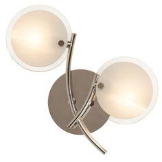 Applique 2 lumières en métal chromé et verre givré longueur 24cm  Benjy