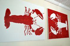DIY Lobster Art linens!#joescrabshack