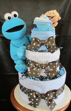 Cookie Monster Baby Shower | ... Cookie Monster 3 Tier Diaper Cake   Baby