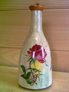 bottiglia vetro con rose
