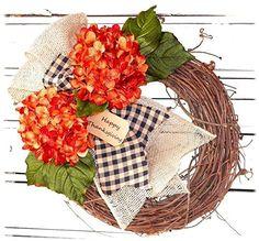 Orange Hydrangea Autumn Wreath with Burlap Bow