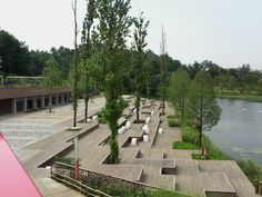 Wood deck stand, Seoseoul lake park in Seoul, Korea