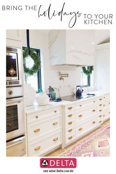 Decorate Your Kitchen This Holiday Season! Learn how to bring the holidays into the heart of the house from blogger & designer Leslie Biggley of The Leslie Style. She shares some festive ways to spruce up your home for those entertaining evenings or relaxing days with your family. Decorating tip: use holiday décor that influences and amplifies your style rather than overpower it. #holidaydecor #Christmasdecor #ClassicChristmas Small White Kitchens, Cool Kitchens, Beautiful Kitchens, White Kitchen Inspiration, Unique Tile, White Wall Decor, Kitchen Collection, Its A Wonderful Life, Minimalist Home