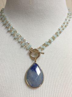 Multi Strand Semi Precious Teardrop Stone Pendant Necklace - Navy