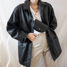 Discover recipes, home ideas, style inspiration and other ideas to try. Oversized Denim Jacket Outfit, Leather Jacket Outfits, Leather Blazer, Leather Jackets, Asos Leather Jacket, Biker Leather, Tan Leather, Legging Outfits, Black Leggings Outfit
