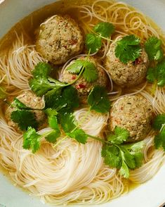 Yotam Ottolenghi's Thai pork dumplings and noodles in broth