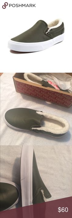 [NWT] Vans Leather & Fleece Slip On Shoes, Sz 8.5 Vans Leather Slip On Skate Shoes Size women's 8.5 Olive color Nice leather exterior Fleece-lined interior, super comfy and easy to wear with or without socks!  *BRAND NEW with original box and tags, never been worn!*  Maybe discontinued by manufacturer, so here's a retailer product link: https://www.journeys.com/product/Vans-Slip-On-Leather-Skate-Shoe-Olive-497191 Vans Shoes Sneakers