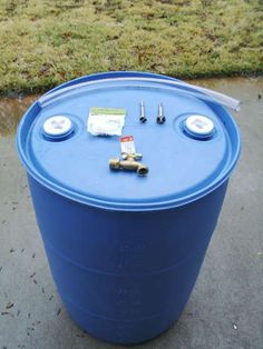 DIY rain barrel from a 55 gallon water barrel