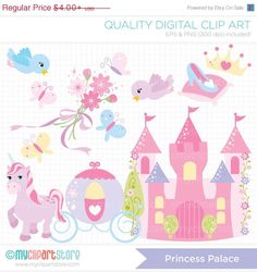 BLACK FRIDAY SALE - Princess Palace Clip Art / Digital Clipart - Instant Download