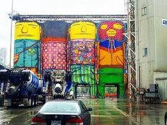 Even on a dreary @granville_island day this @van_biennale installation by #brazil 's @osgemeos is still a stunner. Hopefully it stays here permanently.  #art #graphic #instacool #artist #artwork #designer #biennale #sculpture #street #streetart #city #vsco #vancouver #granvilleisland #osgemeos