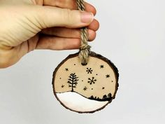Rustic+ornament:+wood+burned+winter+by+SimplyTwitterpated+on+Etsy