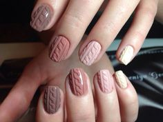Neutral knit nails love these! #nailart