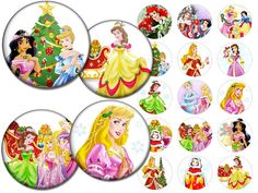 Disney Princesses Christmas inspired  Bottle cap by Bottlecap4u, $2.50