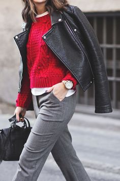 trouser, merry red, leather