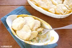 Turkey Pot Pie topped with biscuits, yummy for Thanksgiving leftovers!   Camp Makery