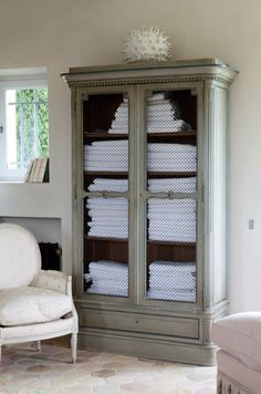 You cant go wrong with a gorgeous armoire. Replace mirrors with chicken wire