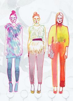 Samantha Hahn watercolor...runway girls.