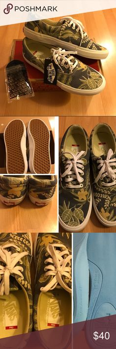 Vans Pro Era Sneakers For sale is a pair of new Vans Era Pros in an aloha blue Hawaiian canvas material. Tag was only removed to try on the shoes, otherwise never worn (see pictures). Insole of shoe is the pro model ultracush material for more padding and support over the normal Vans Eras. Included are an alternate set of blue laces. Message if any questions. Vans Shoes Sneakers