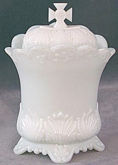 Antique Milk Glass Covered Container with Cross Finial (Boxes & Trays) at Silversnow Antiques and Art Antique, Antique Dishes, Vintage Dishes, Antique Glass, Vintage Glassware, Fenton Milk Glass, Pots, Indiana Glass, Glass Dishes