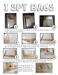 """Making I spy bags from """"The Way I teach""""  Post includes great directions and pictures."""