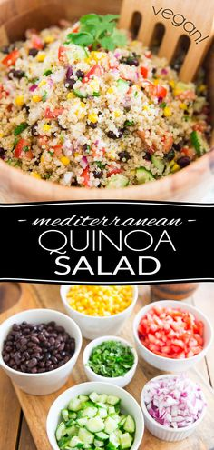 This Vegan Mediterranean Quinoa Salad is super quick to make and keeps well for several days in the fridge, making it an ideal contender for your next potluck, picnic, barbecue or other any social gathering where you're expected to bring food. Healthy Picnic Foods, Vegan Picnic, Healthy Snacks, Healthy Recipes, Mediterranean Quinoa Salad, Mediterranean Recipes, Clean Eating Snacks, Healthy Eating, Plant Based Diet Meals