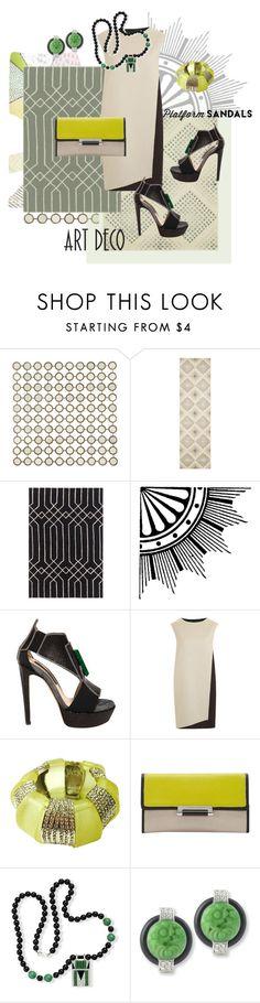 """Art Deco Platform Sandals"" by valeria-mezhevikina ❤ liked on Polyvore featuring Ballard Designs, Nourison, Dot & Bo, Chrissie Morris, PINGHE, Kenneth Jay Lane, Diane Von Furstenberg, platforms, artdeco and kennethjaylane"