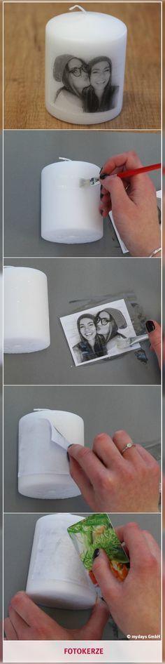 Fotokerze - Erinnerungen zum Erleuchten bringen. Mit einer DIY- Fotokerze bringst Du die schönsten Erinnerungen mit Deinem Lieblingsmenschen zum Leuchten! Eine Geschenkidee, die man so in keinem Laden findet! Was Du dafür benötigst und wie es funktioniert, erfährst Du in unserem mydays Magazin. Photo Candles, Diy Friend Gift, Diy Gift For Man, Diy Gifts For Friends, Diy Crafts For Gifts, Fun Gifts, Cool Crafts, Unique Gifts, Creative Christmas Presents
