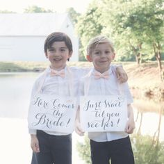 Two Wedding Signs Here Comes The Bride Just Wait Til You See | Etsy Rose Gold Ribbon, Navy Ribbon, Funny Wedding Signs, Wedding Humor, Wedding Signage, Wedding Ceremony, Flower Girl Signs, Ring Bearer Signs, Second Weddings