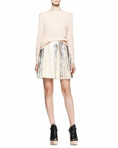 Long-Sleeve Merino Pullover and Pleated Foil Short Skirt by Proenza Schouler at Bergdorf Goodman.