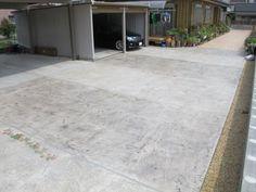 ガレージ駐車場でのスタンプコンクリート工事