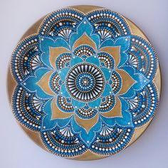 Golden/blue decorative plate. Wall decor. Home decor. Handmade decor. Interior…