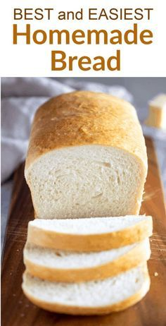 Look no further for the BEST and simplest homemade Bread recipe made with just six simple pantry ingredients It s the perfect white bread for sandwiches and it freezes well too via betrfromscratch Sandwich Bread Recipes, Easy Bread Recipes, Cooking Recipes, White Bread Recipes, One Loaf Bread Recipe, White Bread Machine Recipes, Easy White Bread Recipe No Yeast, Simple White Bread Machine Recipe, Loaf Of Bread