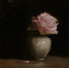 Neil Carroll Original Oil Painting Still Life Pink Rose