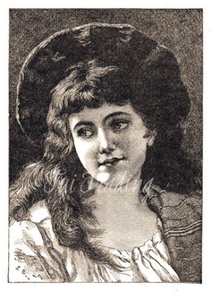 Victorian Girl Digital Antique Image Lady Graphic by TuiTrading