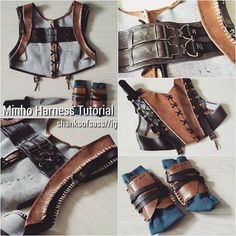 The most asked question I've gotten so here's your answer!  How to make your own Minho harness!  Things you'll need: - 2 different coloured vinyl - 4 moon shaped loops - 2 attachment hooks (if you want to include a bag) - masking tape - Yellow tread, black tread - Thick yellowish string (I used white and then soaked them in tea) - plastic wrap - black elastic (for knife holder) - black shoe lace string - overall buckles (for the chest decoration)  1) Using the shirt I would wear with the…
