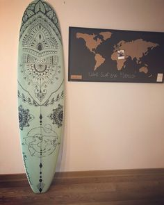 My mandala worldmap surfboard Surf Design, Design Art, Surfboard Painting, Surfboard Skateboard, Mandala Design, Mandala Art, Custom Surfboards, Jellyfish Art, Surf Art