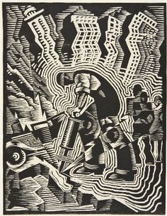 Man with a Drill by Charles Turzak for the Works Progress Administration, circa 1935. #WPA
