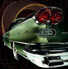 Vintage Cars 1958 Pontiac Bonneville - The 1958 Pontiac Bonneville. With a rocket motif on the sides spitting out stylized chrome flames, the 1958 Pontiac Bonneville is ready for the future. The car and the print are beautiful. Bugatti, Pontiac Bonneville, Us Cars, Sport Cars, Mercedes Classic Cars, Volkswagen, Automobile, Auto Retro, Maserati Quattroporte
