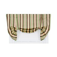 Ellis Curtain Mateo Basil 50 x 30-Inch Lined Tie-Up Valance ($61) ❤ liked on Polyvore featuring home, home decor, window treatments, curtains, striped draperies, multicolored curtains, textured curtains, rod pocket valance and rod pocket draperies